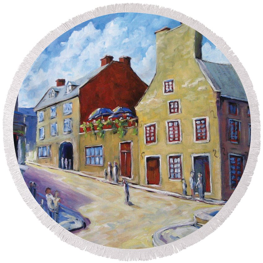 Rural Round Beach Towel featuring the painting Calvet House Old Montreal by Richard T Pranke