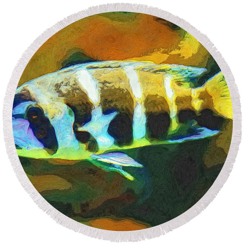 Fish Round Beach Towel featuring the painting Calvin by Dominic Piperata