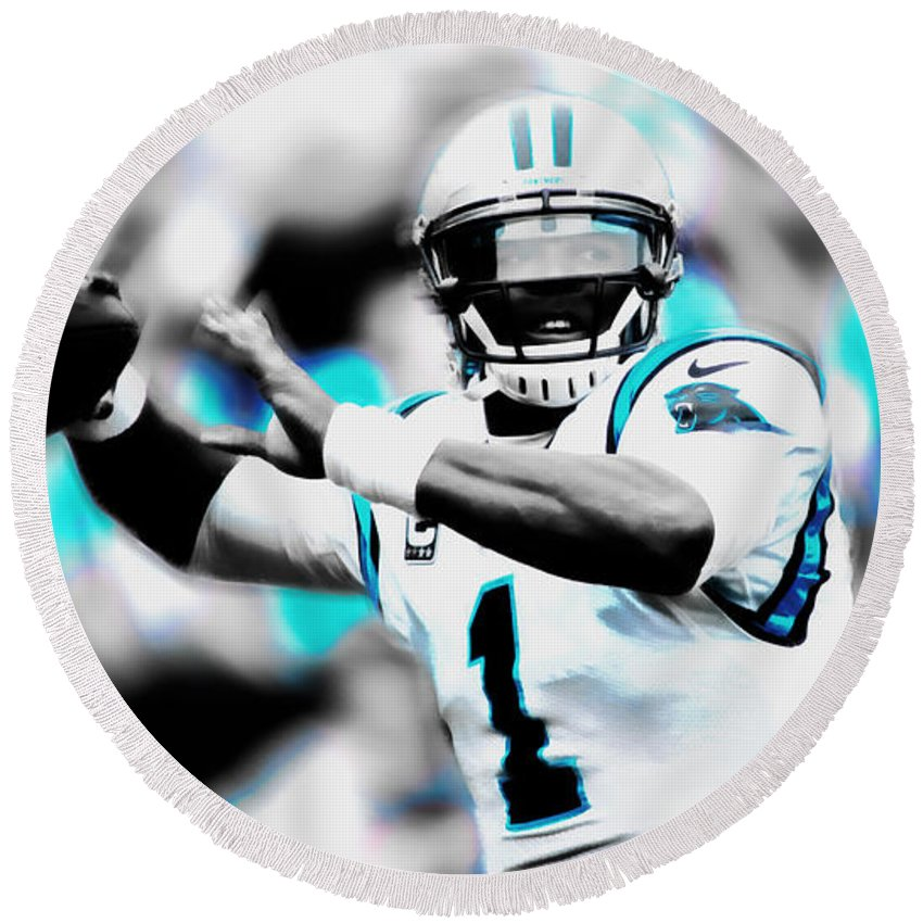 Cam Newton Round Beach Towel featuring the mixed media Cam Newton Letting It Fly by Brian Reaves
