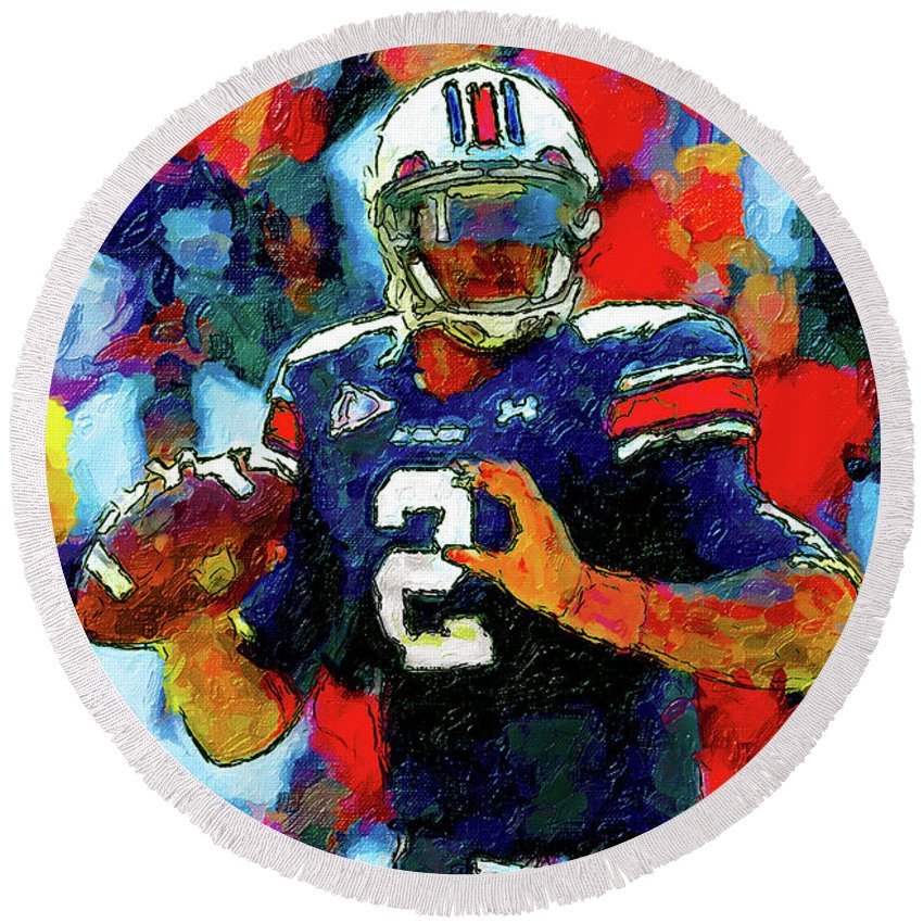 Cam Newton Round Beach Towel featuring the painting Cam Newton War Eagle Rises by John Farr