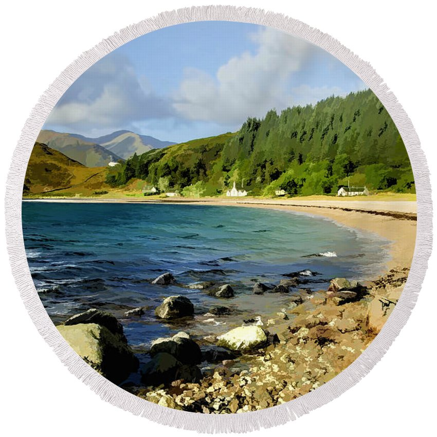 Kingairloch Round Beach Towel featuring the photograph Camasnacroise Loch Linnhe by Chris Thaxter