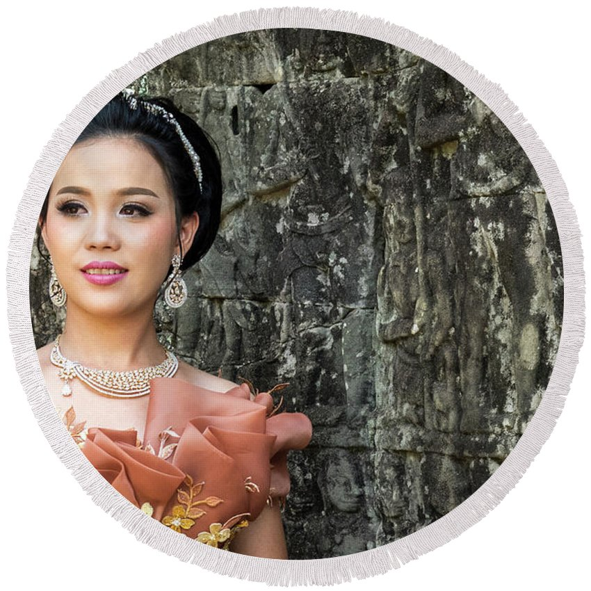 Cambodia Round Beach Towel featuring the photograph Cambodian Bride 02 by Rick Piper Photography