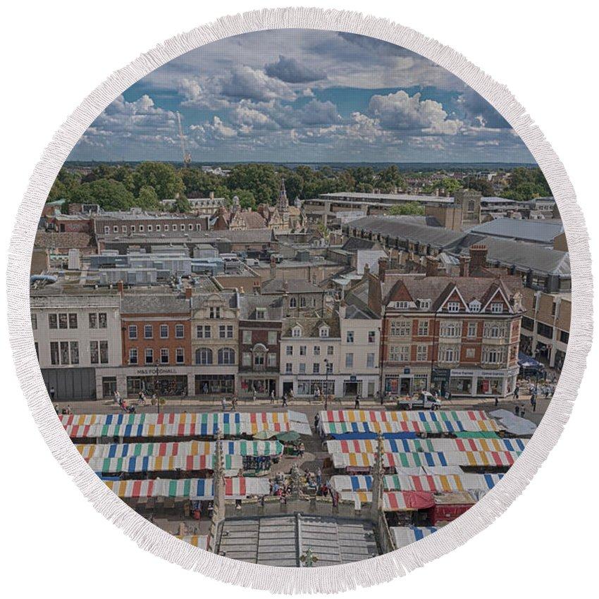 Cambridge Round Beach Towel featuring the photograph Cambridge Market by Monika Tymanowska