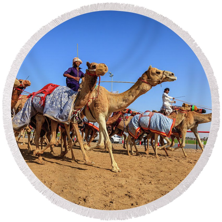 Al Marmoom Round Beach Towel featuring the photograph Camel Racing In Dubai by Alexey Stiop