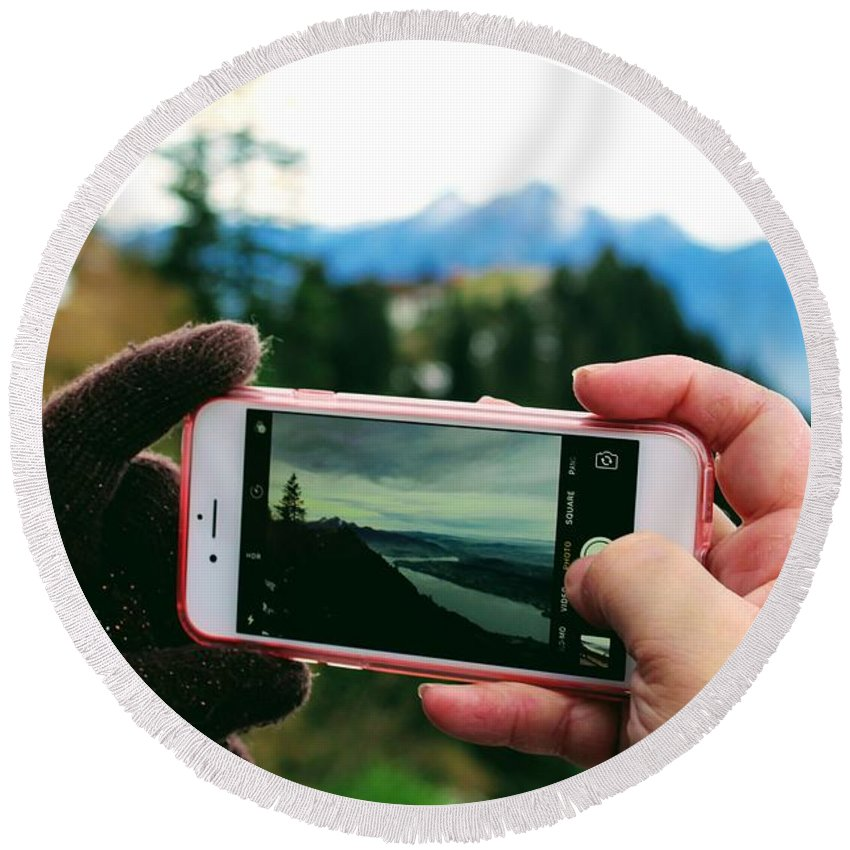 Phone Round Beach Towel featuring the photograph Camera Phone by Ivan Stevens