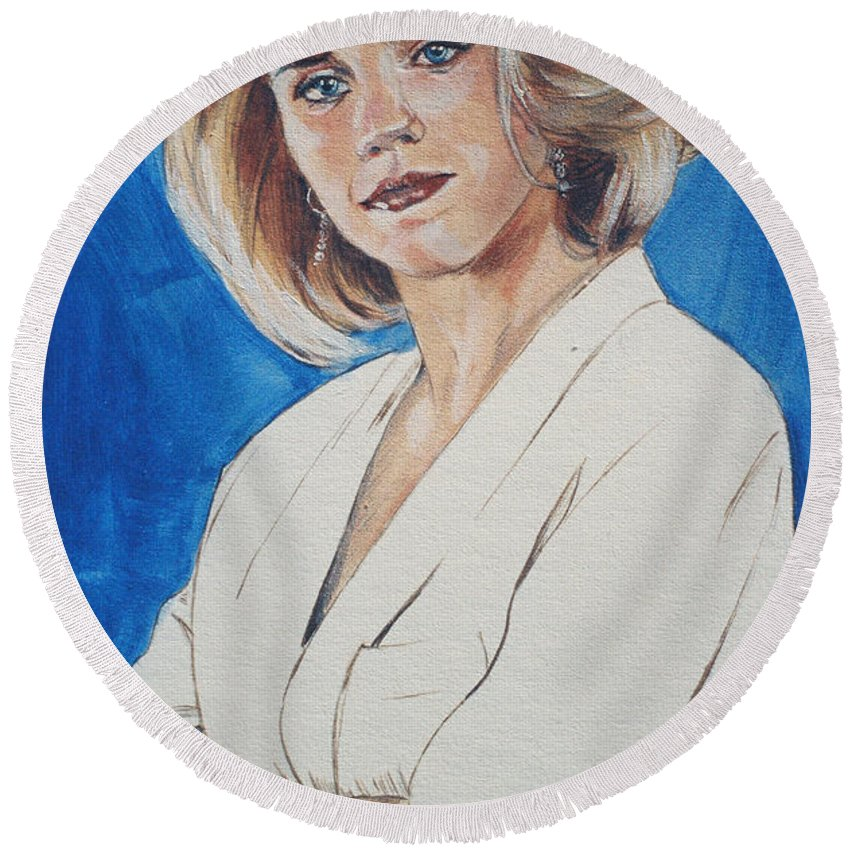 Cami Cooper Round Beach Towel featuring the painting Cami Cooper by Bryan Bustard