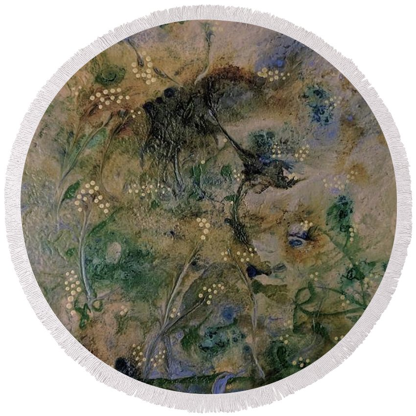 Mixed Round Beach Towel featuring the photograph Camo by Valery Elias