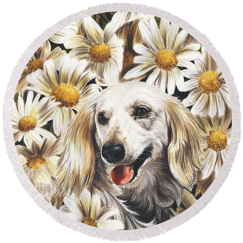 Dachshund Round Beach Towel featuring the drawing Camoflaged by Barbara Keith