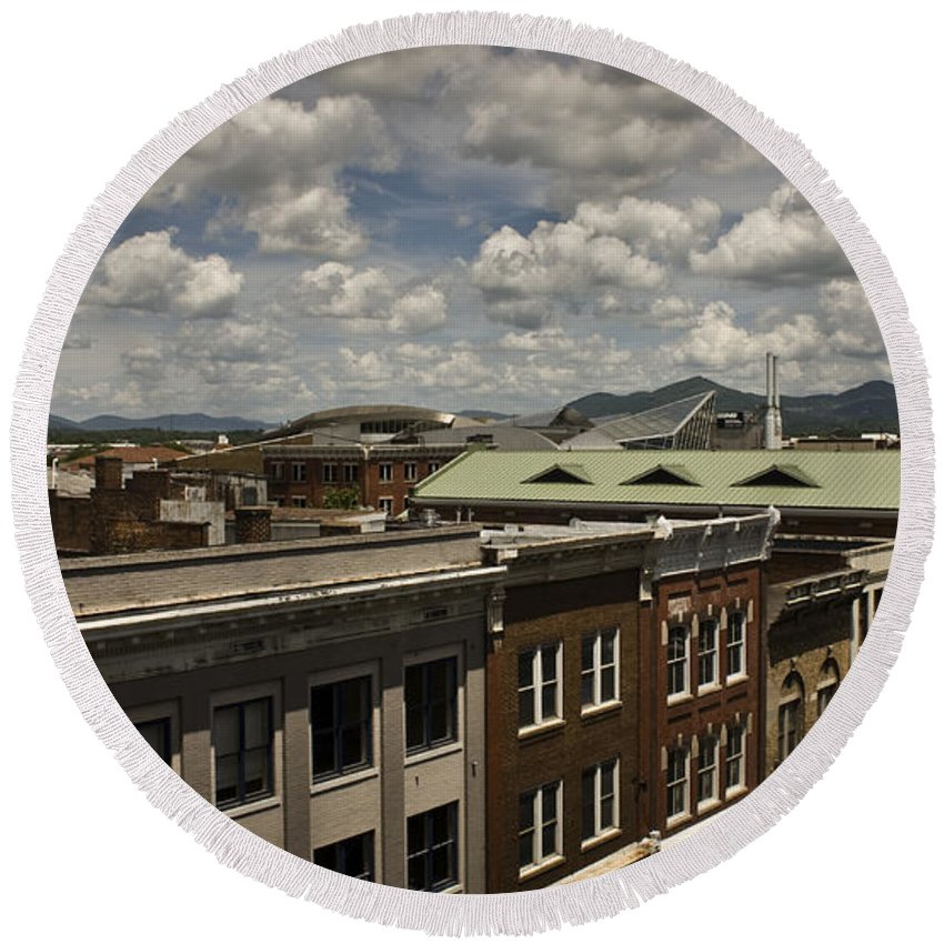 Cityscape Round Beach Towel featuring the photograph Campbell Avenue Rooftops Roanoke Virginia by Teresa Mucha