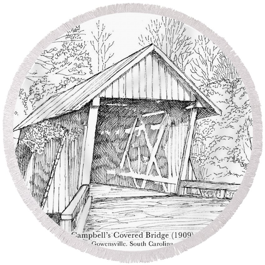 Covered Wooden Bridge Round Beach Towel featuring the drawing Campbell's Covered Bridge by Greg Joens