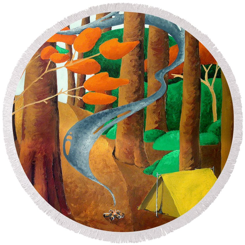 Landscape Round Beach Towel featuring the painting Camping - Through The Forest Series by Richard Hoedl