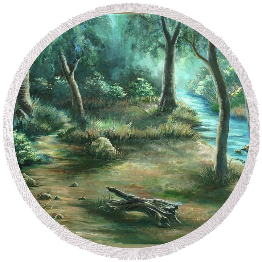 Landscape Round Beach Towel featuring the painting Camping At Figueroa Mountains by Jennifer McDuffie