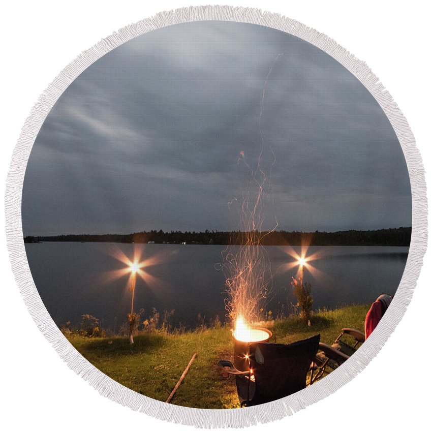 Camping Round Beach Towel featuring the photograph Campsite Lakeside by Justin Mountain
