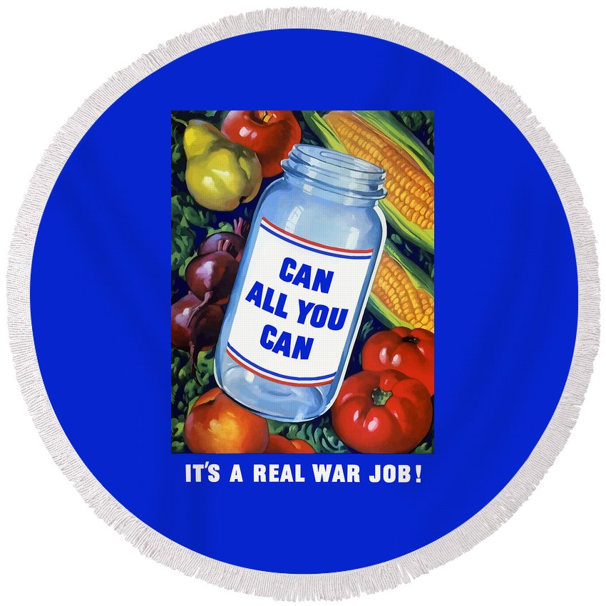 Canned Food Round Beach Towel featuring the painting Can All You Can -- Ww2 by War Is Hell Store