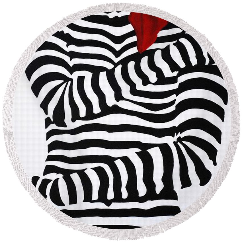 Black And White Round Beach Towel featuring the painting Can I Say Something? by Sonali Kukreja
