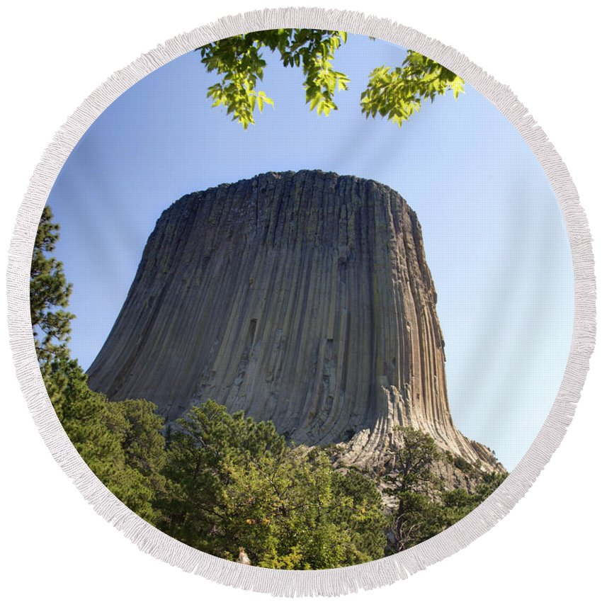Climbers Round Beach Towel featuring the photograph Can You Find The Climbers On Devils Tower Wyoming -1 by Paul Cannon