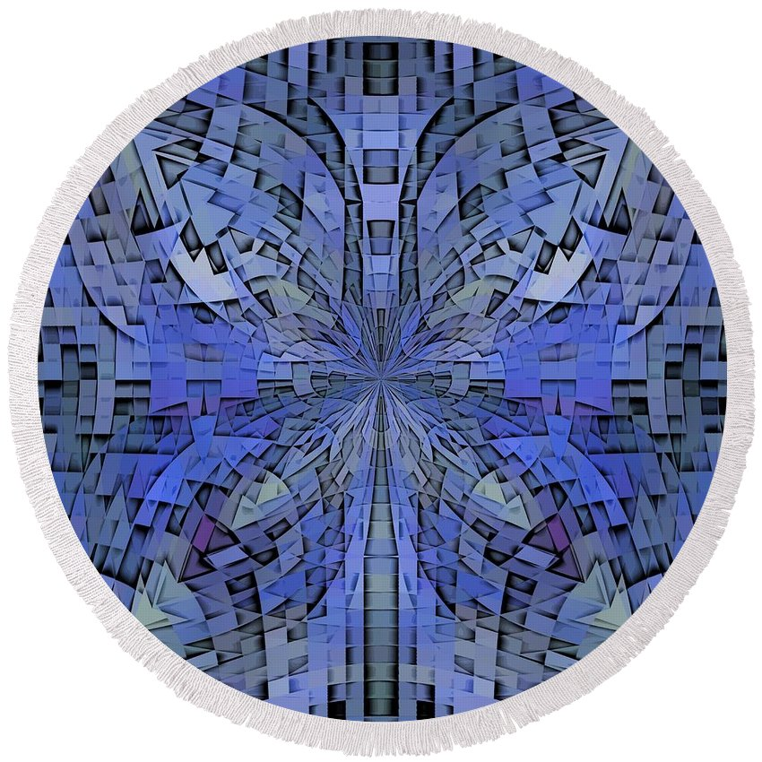 Abstract Round Beach Towel featuring the digital art Can You Hear Me Now by Tim Allen