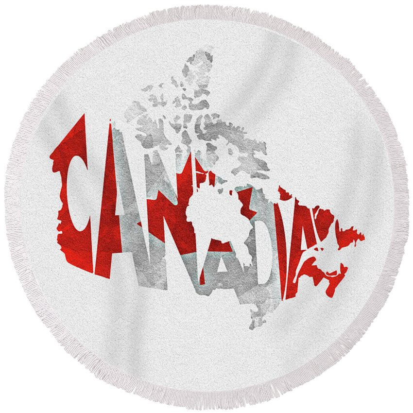 Canadian Round Beach Towel featuring the digital art Canada Typographic Map Flag by Inspirowl Design