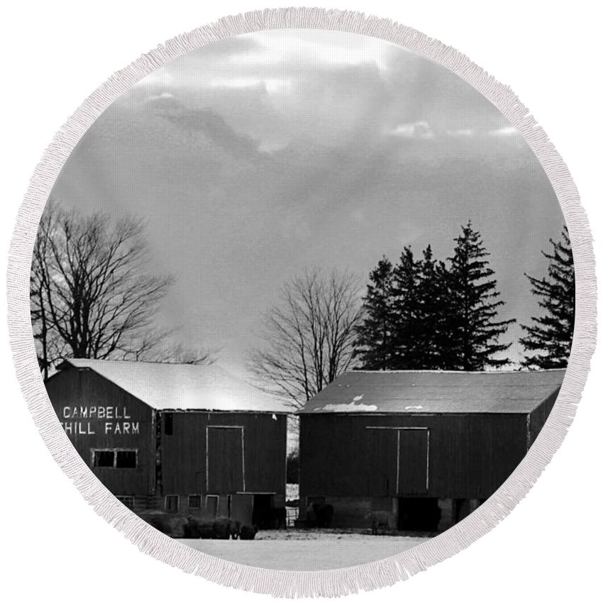 B&w Round Beach Towel featuring the photograph Canadian Farm by Anthony Jones