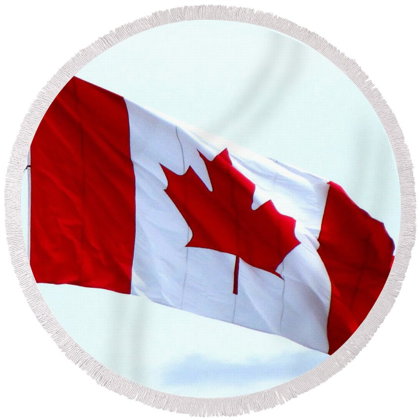 Canada Round Beach Towel featuring the photograph Canadian Flag by Randall Weidner