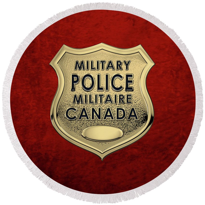 'military Insignia & Heraldry' By Serge Averbukh Round Beach Towel featuring the digital art Canadian Forces Military Police C F M P - M P Officer Id Badge Over Red Velvet by Serge Averbukh