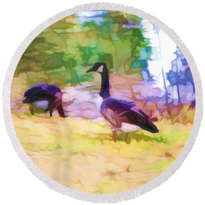 Canadian Geese Round Beach Towel featuring the painting Canadian Geese In The Park 3 by Jeelan Clark