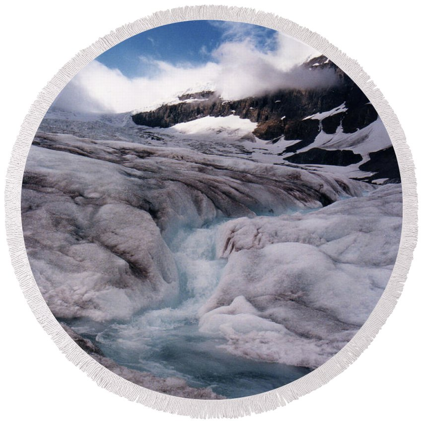 Landscape Round Beach Towel featuring the photograph Canadian Rockies Glacier by Stan Roban
