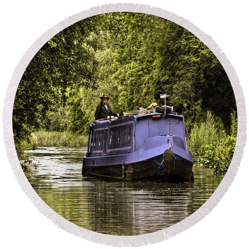 Canal Round Beach Towel featuring the photograph Canal Boat by Chris Lord
