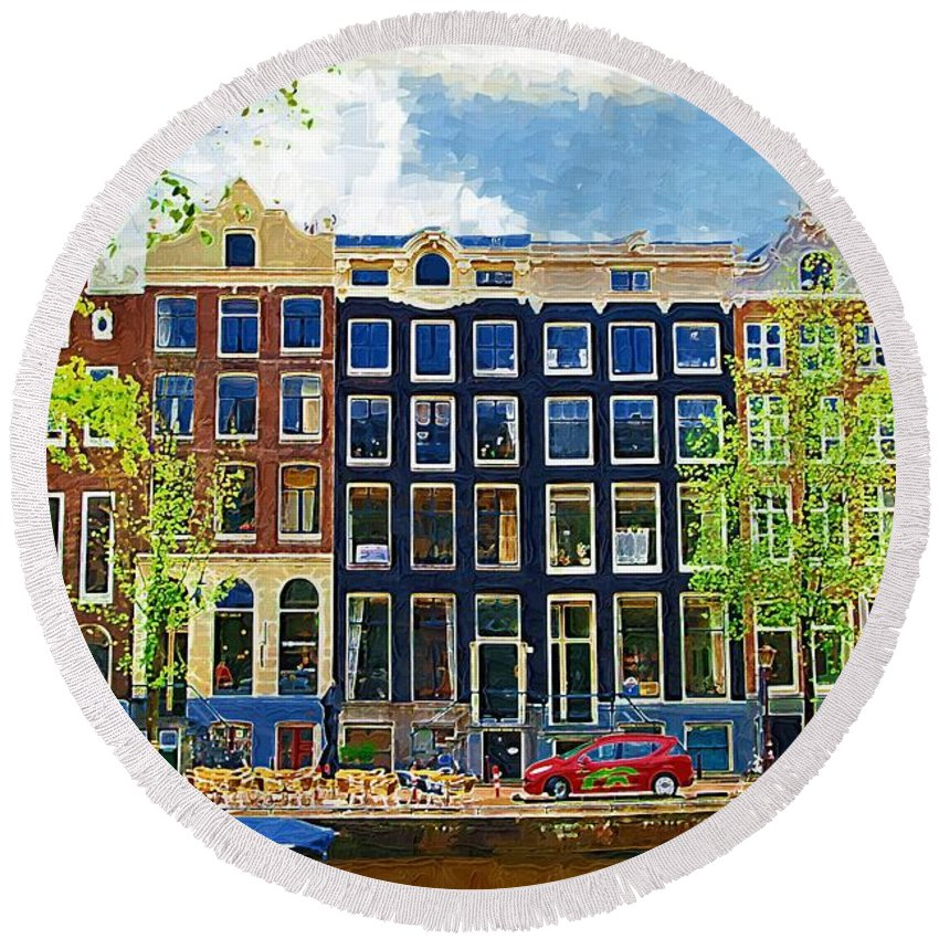 Amstersdam Round Beach Towel featuring the photograph Canal Houses by Tom Reynen