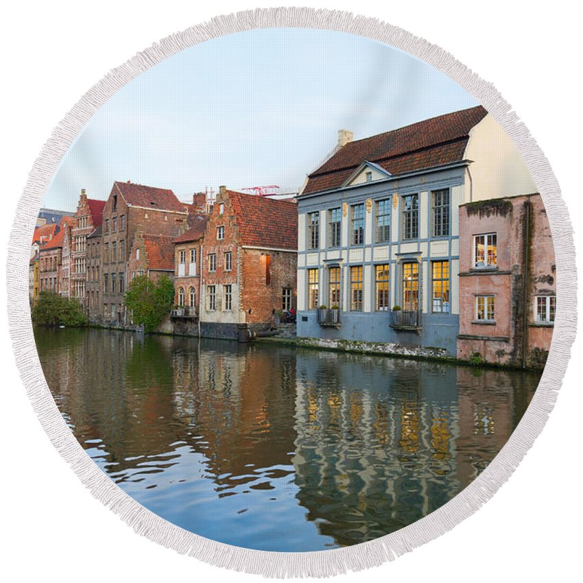 Belgium Round Beach Towel featuring the photograph Channel In Ghent by Anastasy Yarmolovich