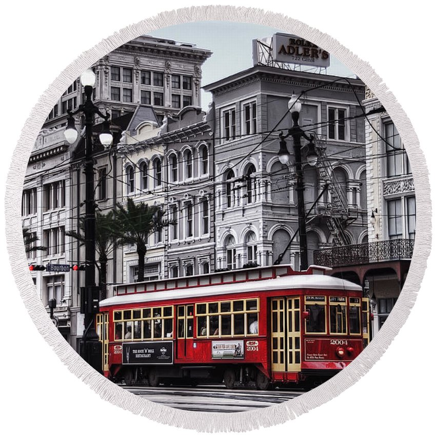 Nola Round Beach Towel featuring the photograph Canal Street Trolley by Tammy Wetzel