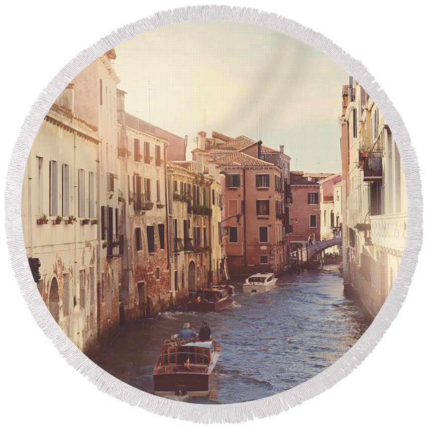 History Round Beach Towel featuring the photograph Canals Of Venice With Instagram Vintage Style Filter by Brandon Bourdages