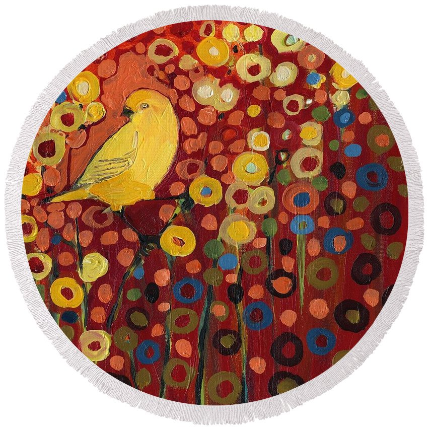 Canary Round Beach Towel featuring the painting Canary in Red by Jennifer Lommers