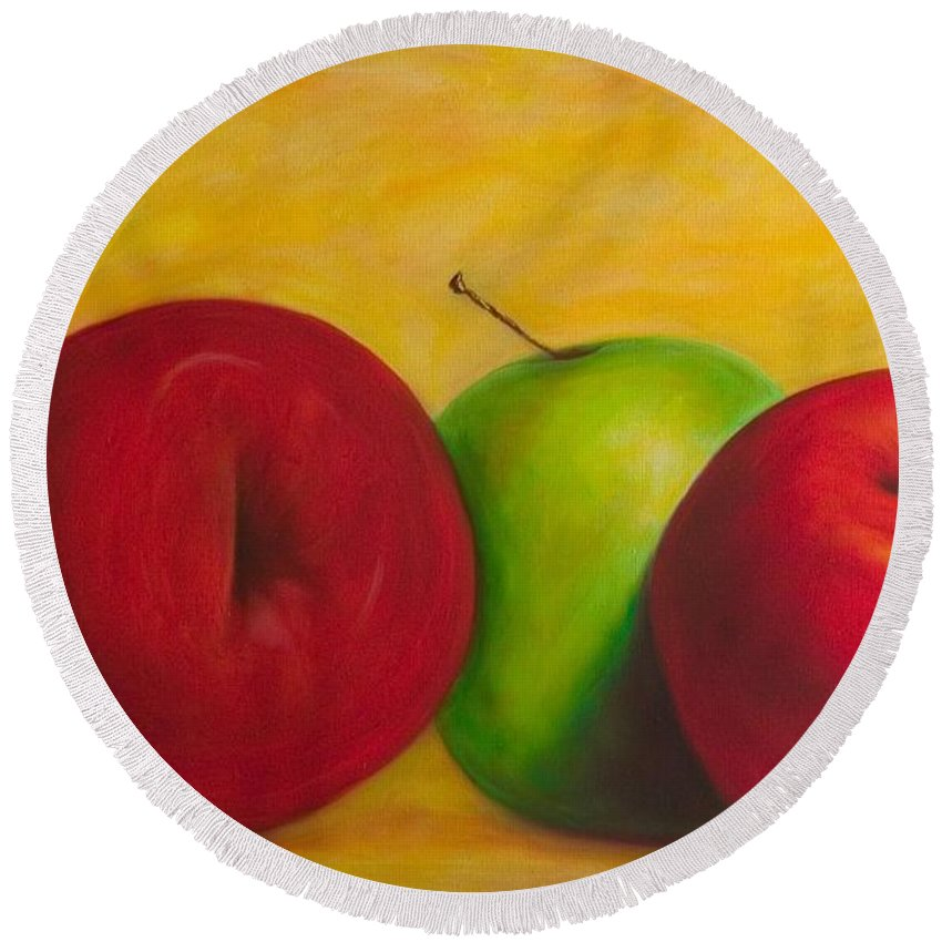 Still Life Round Beach Towel featuring the painting Cancan by Shannon Grissom