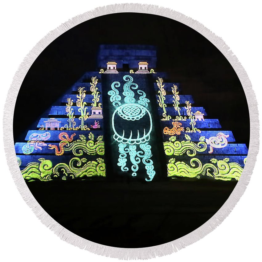 Cancun Round Beach Towel featuring the photograph Cancun Mexico - Chichen Itza - Temple Of Kukulcan-el Castillo Pyramid Night Lights 6 by Ronald Reid
