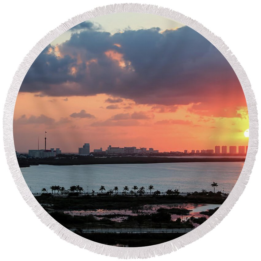 Cancun Round Beach Towel featuring the photograph Cancun Mexico - Sunrise Over Cancun by Ronald Reid
