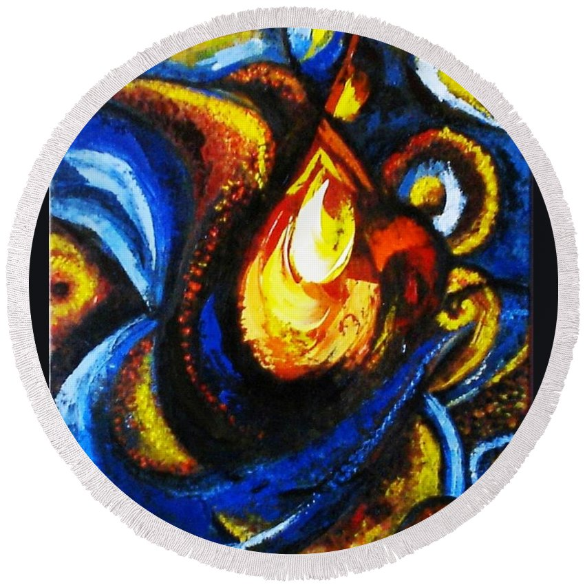 Abstract Round Beach Towel featuring the painting Candle In Your Heart by Harsh Malik