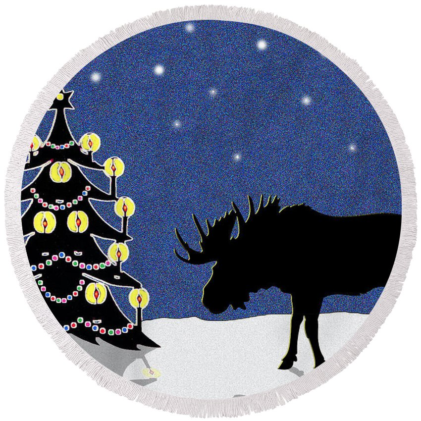 Moose Round Beach Towel featuring the digital art Candlelit Christmas Tree And Moose In The Snow by Nancy Mueller