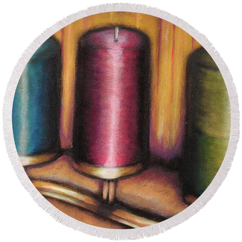 Acrylic Round Beach Towel featuring the painting Candles by Ross Parker