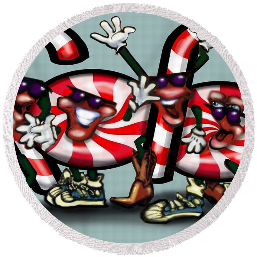 Candy Round Beach Towel featuring the digital art Candy Cane Gang by Kevin Middleton