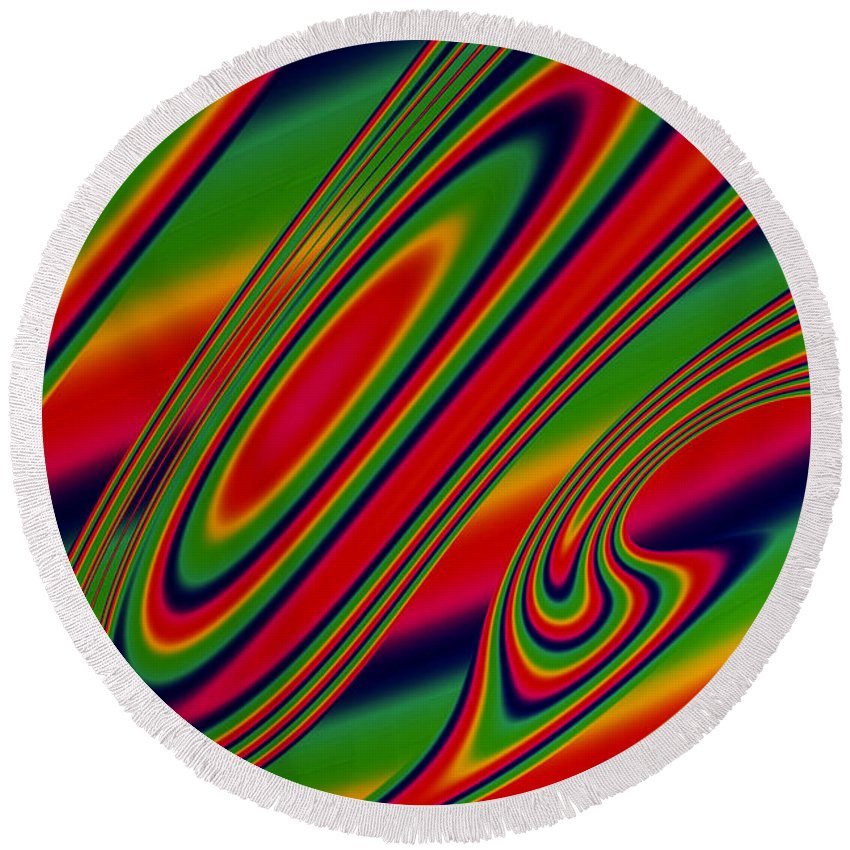 Fractal Round Beach Towel featuring the digital art Candy Drop by Steve Purnell