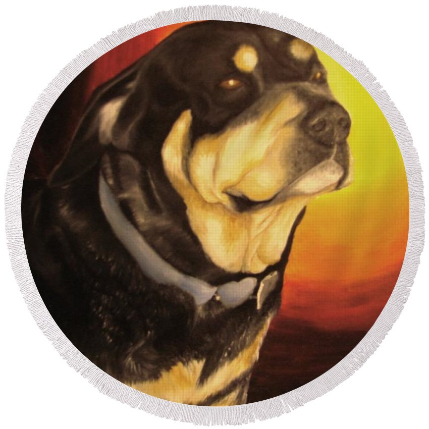 Paintings Round Beach Towel featuring the painting Canine Vision by Glory Fraulein Wolfe