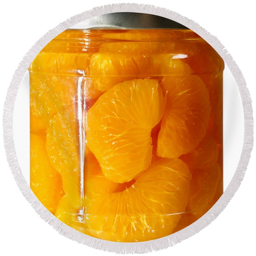 Canned Round Beach Towel featuring the photograph Canned Mandarin Oranges In Glass Jar by Donald Erickson