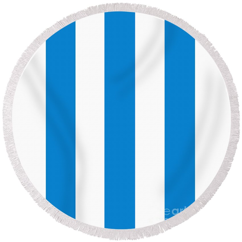 Blue Round Beach Towel featuring the digital art Cannes Stripes, Blue by Elegant and Coastal