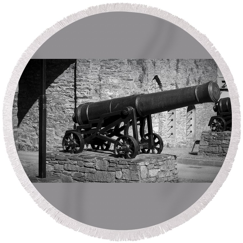 Irish Round Beach Towel featuring the photograph Cannon At Macroom Castle Ireland by Teresa Mucha
