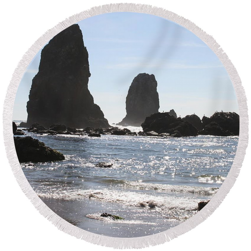 Sea Round Beach Towel featuring the photograph Cannon Beach II by Quin Sweetman