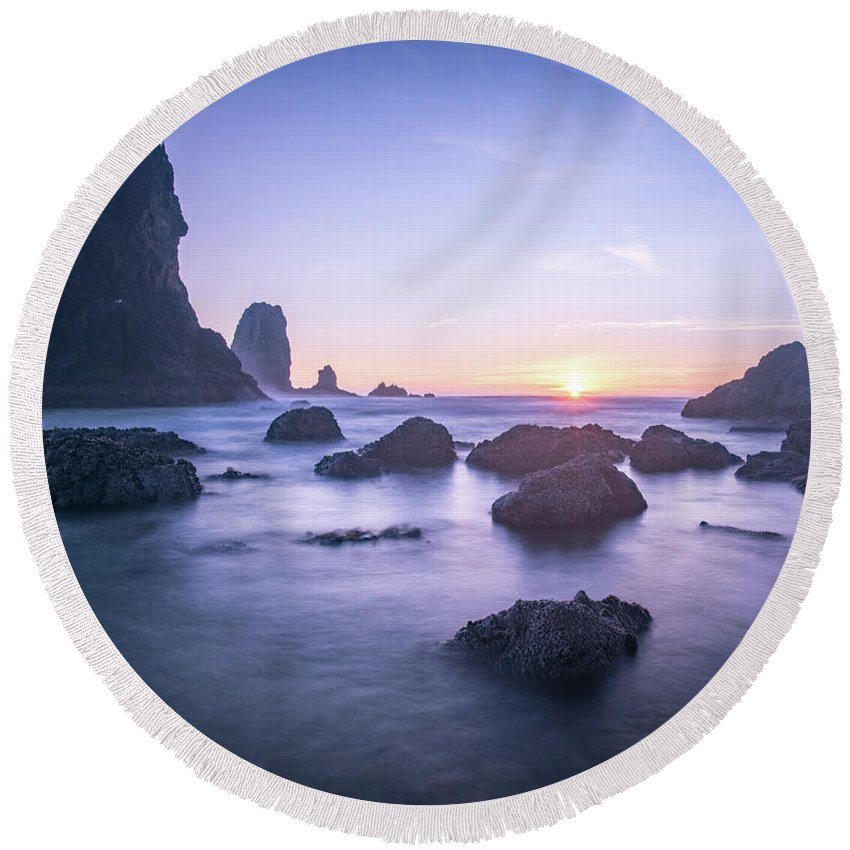 Cannon Round Beach Towel featuring the photograph Cannon Beach Rocks Sunset by Travis Elder