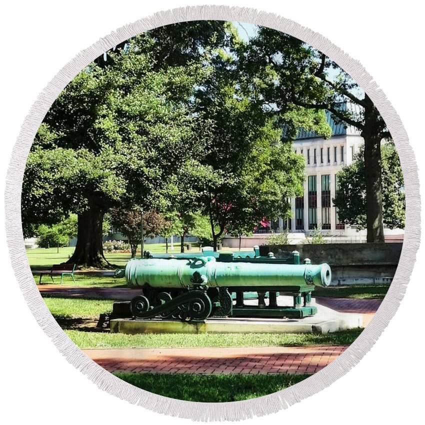 Naval Academy Round Beach Towel featuring the photograph Cannon Near Tecumseh Statue by Susan Savad