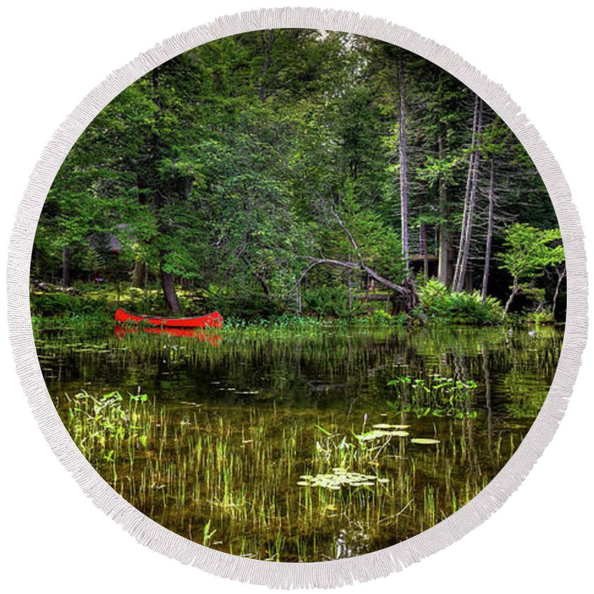 Landscapes Round Beach Towel featuring the photograph Canoe Among The Reeds by David Patterson
