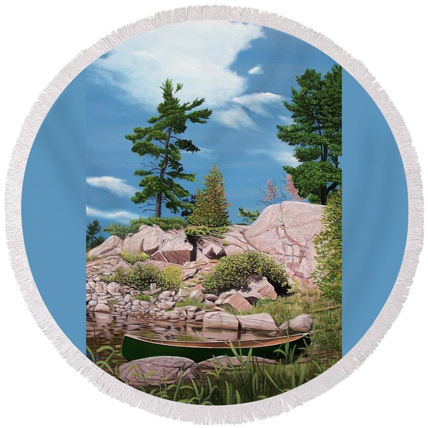 Landscapes Round Beach Towel featuring the painting Canoe Among The Rocks by Kenneth M Kirsch